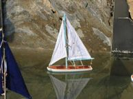 Wooden It Floats 12 - Light Blue Floating Sailboat Model