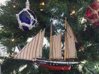 Wooden America Model Sailboat Decoration Christmas Ornament 7