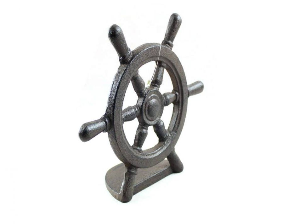 Decorative Door Stop Nautical Home Dec Cast Iron Ship Wheel Door Stopper 9