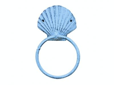 "Rustic Dark Blue Whitewashed Cast Iron Seashell Towel Holder 8.5"""