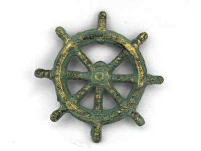 Antique Bronze Cast Iron Ship Wheel Bottle Opener 3.75\
