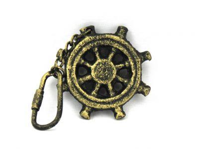 Antique Gold Cast Iron Ship Wheel Key Chain 5\