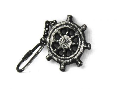 Antique Silver Cast Iron Ship Wheel Key Chain 5\