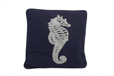 Navy Blue and White Seahorse Pillow 16\
