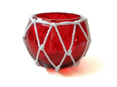 Red Japanese Glass Fishing Float Bowl with Decorative White Fish Netting 6\