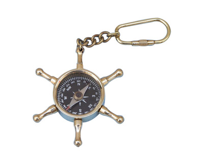 Solid Brass Ship\'s Wheel Compass Key Chain
