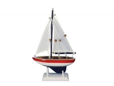 "Wooden USA Sailer Model Sailboat Decoration 9"""