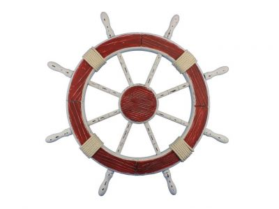 Wooden Rustic Red and White Decorative Ship Wheel 30\