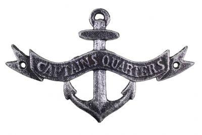 """Antique Silver Cast Iron Anchor Captains Quarters Sign 8"""""""