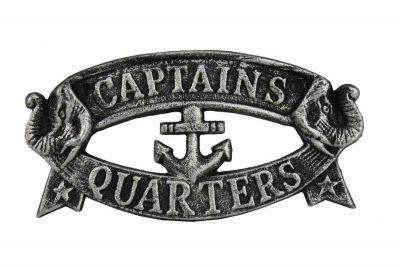 """Antique Silver Cast Iron Captains Quarters Sign 9"""""""