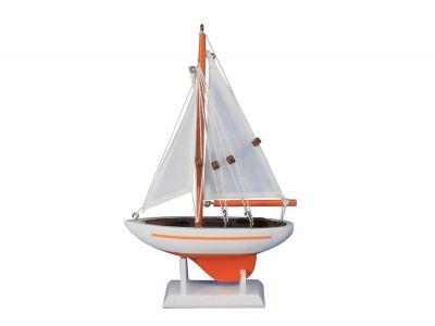 "Wooden Orange Pacific Sailer Model Sailboat Decoration 9"""