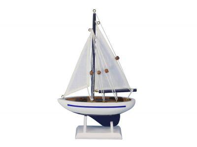 Wooden Blue Pacific Sailer Model Sailboat Decoration 9\