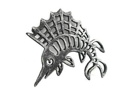 Antique Silver Cast Iron Marlin Trivet 8\