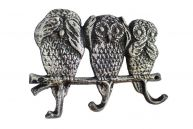 Rustic Silver Cast Iron Owl Wall Hooks 9