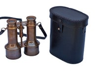Commanders Antique Brass Binoculars with Leather Case 6