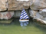 Wooden It Floats 21 - Rustic Blue Striped Floating Sailboat Model