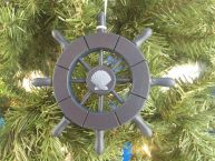 Dark Blue Decorative Ship Wheel With Seashell Christmas Tree Ornament  6