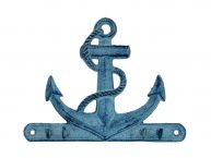 Rustic Dark Blue Whitewashed Cast Iron Anchor with Hooks 8