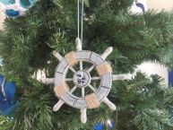 Rustic Decorative Ship Wheel With Seagull Christmas Tree Ornament 6