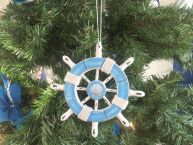 Rustic Light Blue and White Decorative Ship Wheel With Seashell Christmas Tree Ornament  6