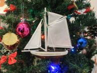 Wooden Columbia Model Sailboat Christmas Tree Ornament 9