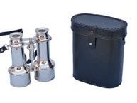 Commanders Chrome Binoculars with Leather Case 6