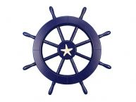 Dark Blue Decorative Ship Wheel with Starfish 18