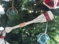 Wooden Rustic Manhattan Beach Decorative Squared Rowing Boat Oar Christmas Ornament 12