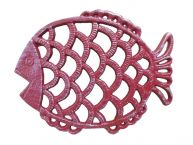 Rustic Red Whitewashed Cast Iron Big Fish Trivet 8