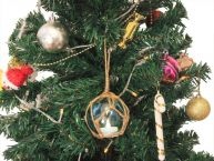 LED Lighted Light blue Japanese Glass Ball Fishing Float with Brown Netting Christmas Tree Ornament 4