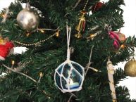 LED Lighted Light blue Japanese Glass Ball Fishing Float with White Netting Christmas Tree Ornament 3