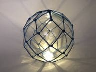 Tabletop LED Lighted Clear Japanese Glass Ball Fishing Float with Blue Netting Decoration 10