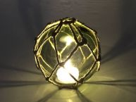Tabletop LED Lighted Green Japanese Glass Ball Fishing Float with Brown Netting Decoration 4