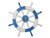 Light Blue and White Decorative Ship Wheel with Seagull and Lifering 18