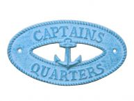 Light Blue Whitewashed Cast Iron Captains Quarters with Anchor Sign 8