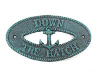 Seaworn Blue Cast Iron Down the Hatch with Anchor Sign 8