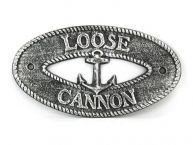 Antique Silver Cast Iron Loose Cannon with Anchor Sign 8