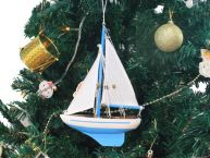 Wooden Light Blue Sailboat Model Christmas Tree Ornament 9