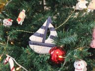 Wooden Rustic Decorative Blue and White Sailboat Christmas Tree Ornament