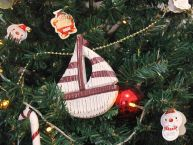 Wooden Rustic Decorative Red and White Sailboat Christmas Tree Ornament