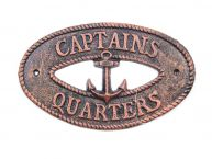 Rustic Copper Cast Iron Captains Quarters with Anchor Sign 8