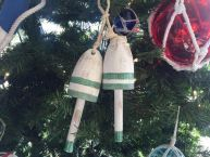 Wooden Vintage Green Decorative Maine Lobster Trap Buoys Christmas Ornament 7