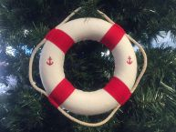 Classic White Decorative Anchor Lifering With Red Bands Christmas Ornament 6