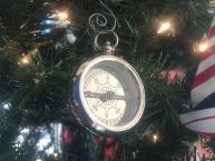 Chrome RMS Titanic White Star Pocket Compass Christmas Ornament 3