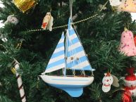 Wooden Anchors Aweigh Model Sailboat Christmas Tree Ornament