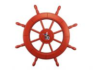 Red Decorative Ship Wheel With Seagull 24