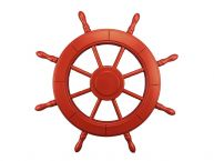 Red Decorative Ship Wheel 24