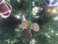 Antique Gold Cast Iron Propeller Christmas Ornament 4