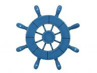 Rustic All Light Blue Decorative Ship Wheel 9