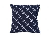 Decorative Blue Pillow with White Anchors Nautical Pillow 16